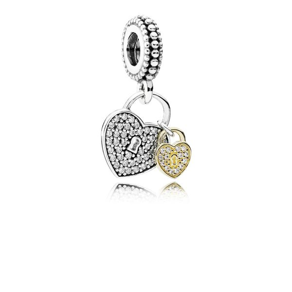 Pandora Pavé Heart Padlocks Dangle Charm in Two-Tone Fox Fine Jewelry Ventura, CA