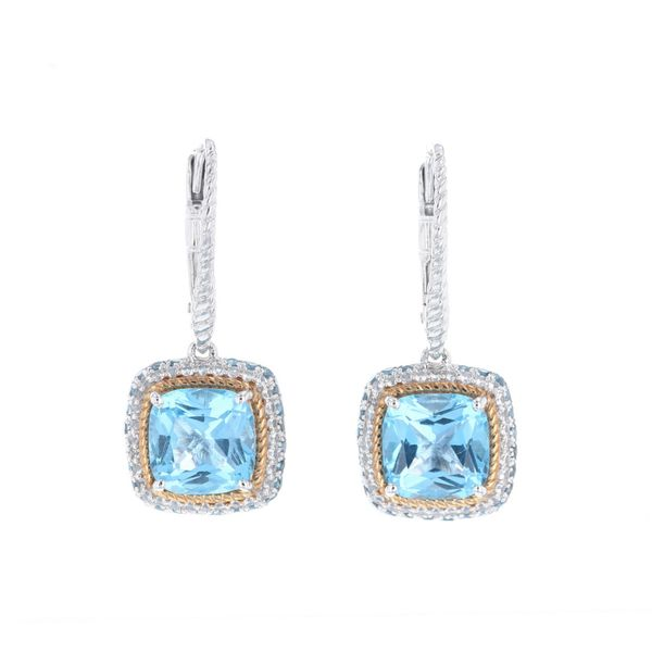 Blue Topaz Multi Halo Earrings Fox Fine Jewelry Ventura, CA