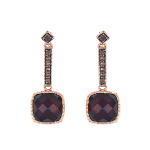 Garnet & Smoky Quartz Dangle Earrings Fox Fine Jewelry Ventura, CA