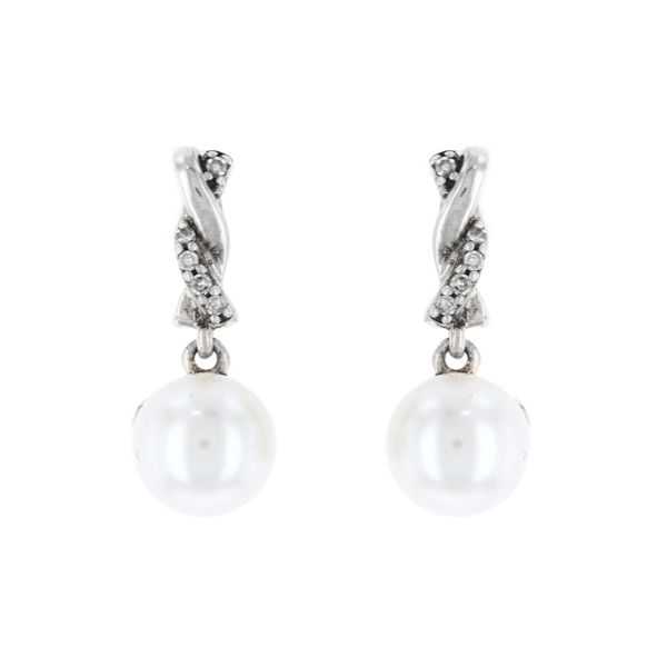 Pearl Diamond Twist Dangle Earrings Fox Fine Jewelry Ventura, CA