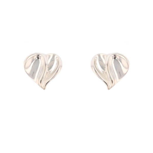 Silver Contrast Finish Heart Studs Fox Fine Jewelry Ventura, CA