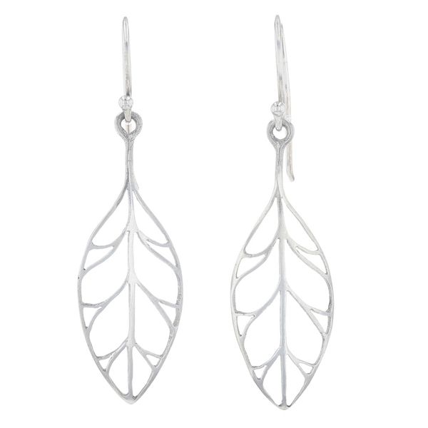 Silver Leaf Dangle Earrings Fox Fine Jewelry Ventura, CA