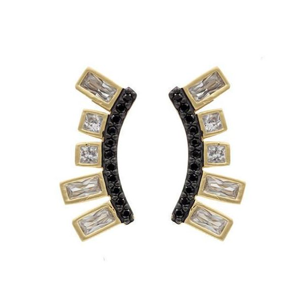 Yellow & Black Gold Plated Climber Earrings Fox Fine Jewelry Ventura, CA