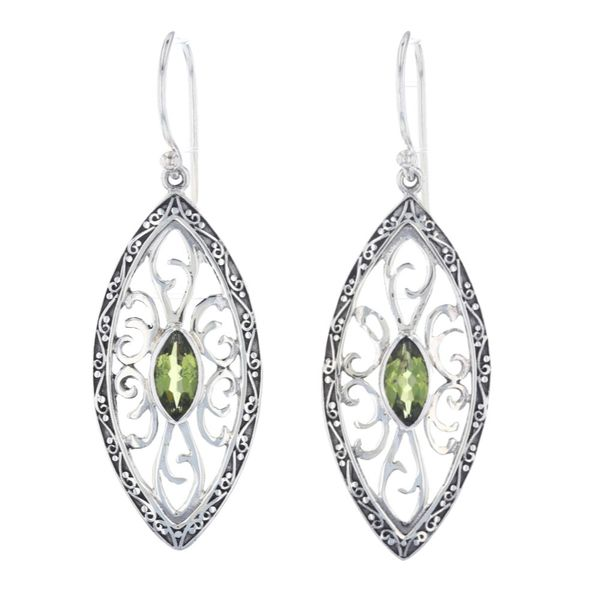Silver Filigree Peridot Dangle Earrings Fox Fine Jewelry Ventura, CA