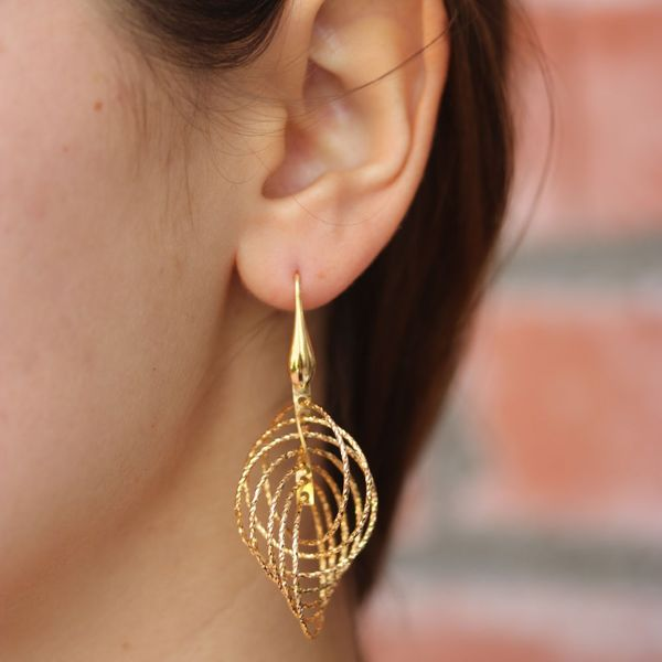 Gold Plated Circle Motion Earrings Image 2 Fox Fine Jewelry Ventura, CA
