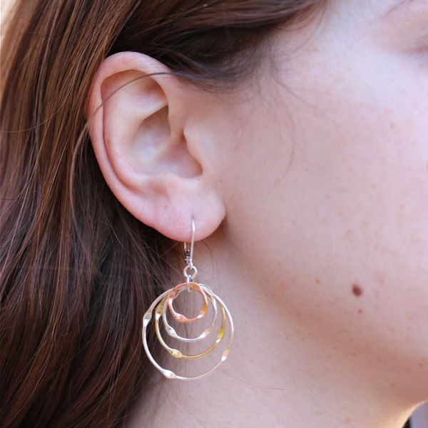 Mixed Metal Concentric Circle Earrings Image 2 Fox Fine Jewelry Ventura, CA