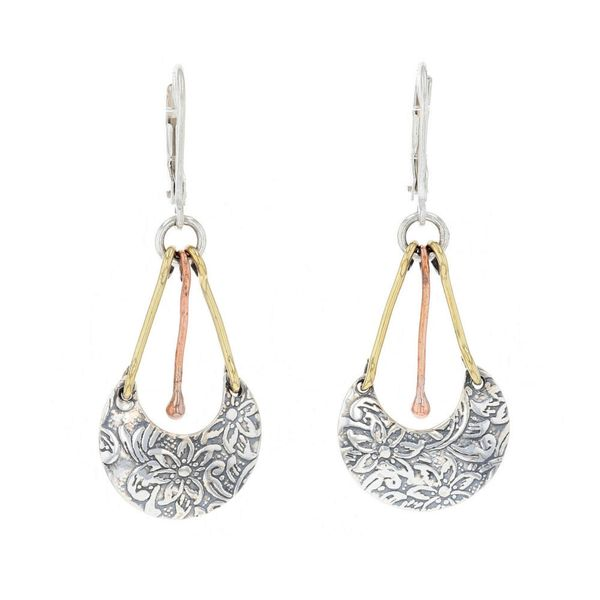 Mixed Metal Floral Dangle Earrings Fox Fine Jewelry Ventura, CA