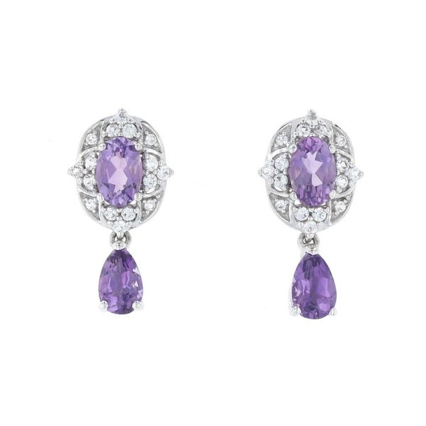 Amethyst Halo Dangle Earrings Fox Fine Jewelry Ventura, CA