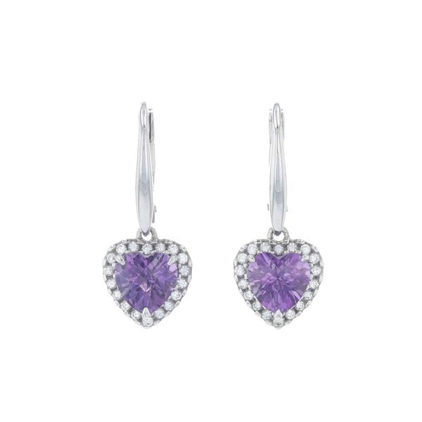 Amethyst Heart Halo Dangle Earrings Fox Fine Jewelry Ventura, CA