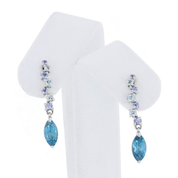 London Blue Topaz Long Dangle Earrings Fox Fine Jewelry Ventura, CA