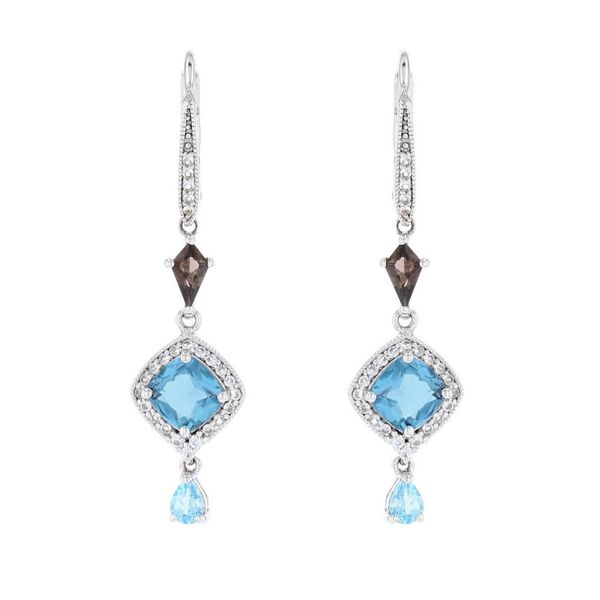 Blue Topaz & Smoky Quartz Dangle Earrings Fox Fine Jewelry Ventura, CA
