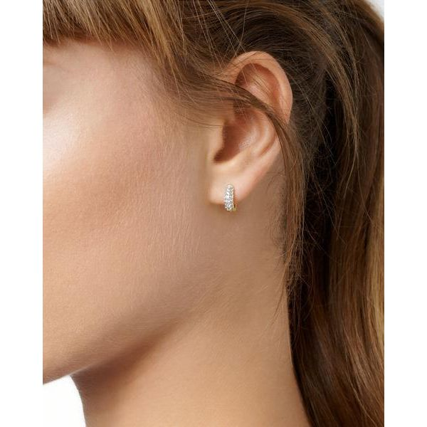 Gold Plated Sparkling Huggie Earrings Image 2 Fox Fine Jewelry Ventura, CA