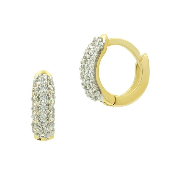 Gold Plated Sparkling Huggie Earrings Fox Fine Jewelry Ventura, CA