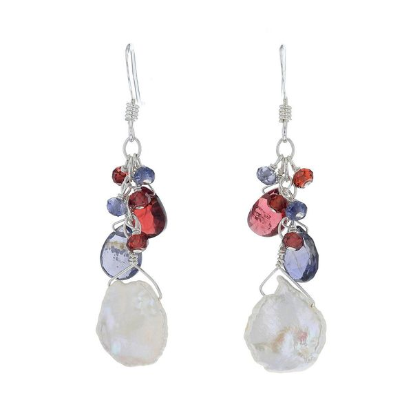 Briolette Garnet & Keshi Pearl Earrings Fox Fine Jewelry Ventura, CA