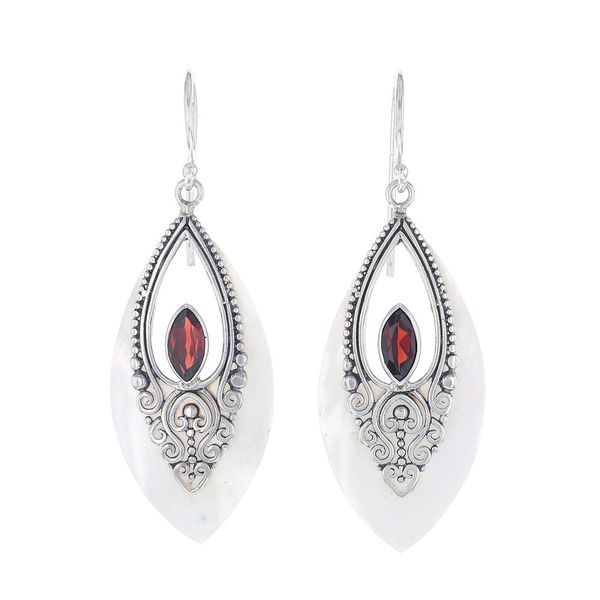 Mother of Pearl & Garnet Dangle Earrings Fox Fine Jewelry Ventura, CA