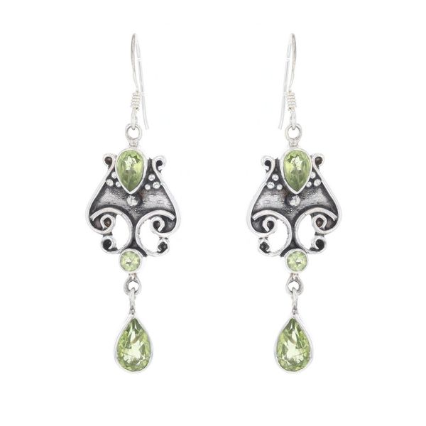Silver Antiqued Peridot Dangle Earrings Fox Fine Jewelry Ventura, CA
