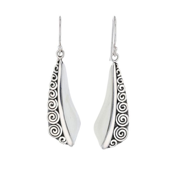 Silver Bone Swirl Dangle Earrings Fox Fine Jewelry Ventura, CA