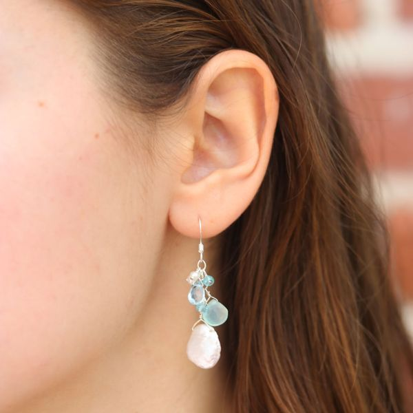 Briolette Chalcedony & Keshi Pearl Earrings Image 2 Fox Fine Jewelry Ventura, CA