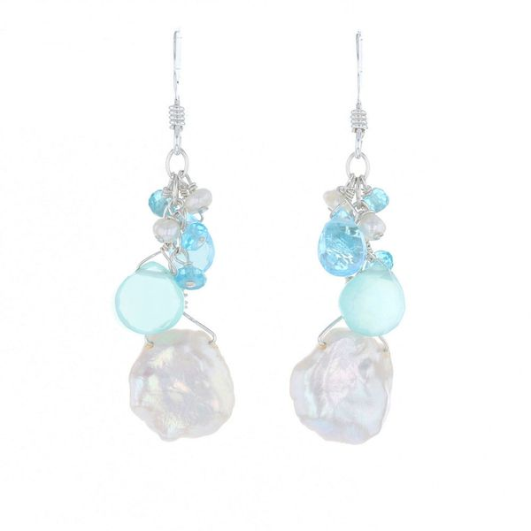 Briolette Chalcedony & Keshi Pearl Earrings Fox Fine Jewelry Ventura, CA
