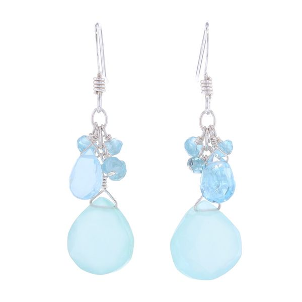 Briolette Chalcedony & Blue Topaz Earrings Fox Fine Jewelry Ventura, CA