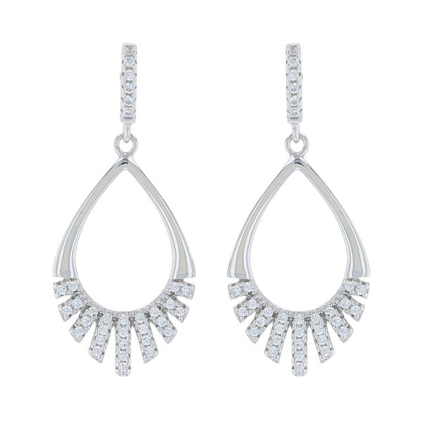 Silver Dangle Teardrop CZ Earrings Fox Fine Jewelry Ventura, CA