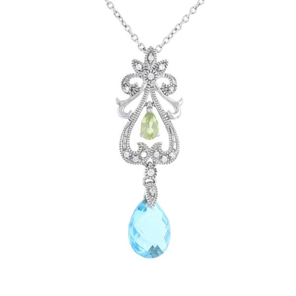 Blue Topaz & Peridot Milgrain Necklace Fox Fine Jewelry Ventura, CA