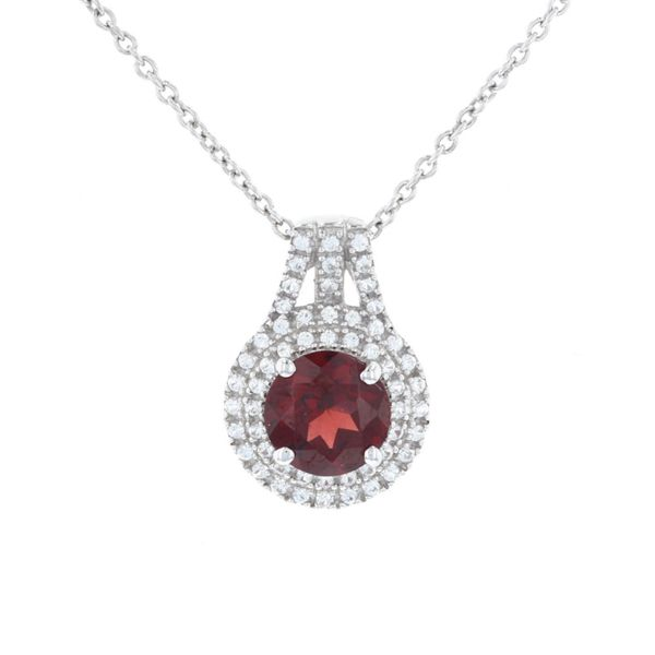 Round Garnet Double Halo Necklace Fox Fine Jewelry Ventura, CA