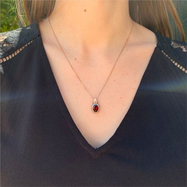 Rose Plated Double Halo Garnet Necklace Image 2 Fox Fine Jewelry Ventura, CA