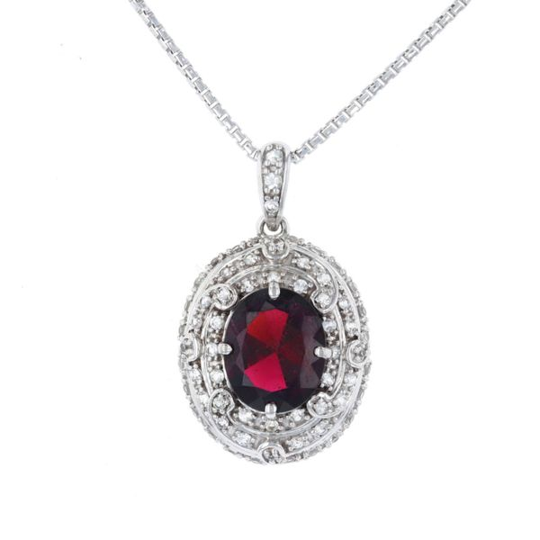 Oval Garnet Bold Halo Necklace Fox Fine Jewelry Ventura, CA