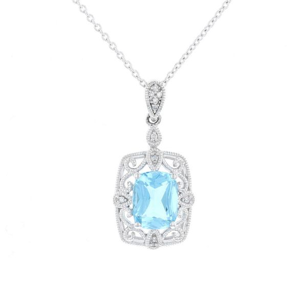 Blue Topaz Filigree Halo Necklace Fox Fine Jewelry Ventura, CA
