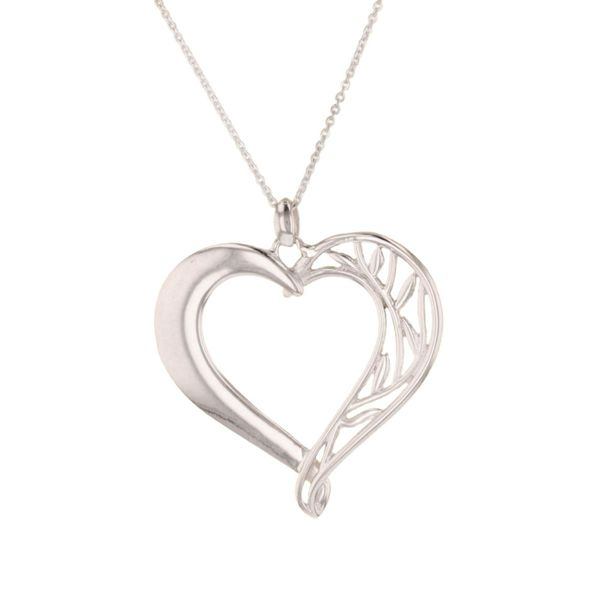 Silver Large Lotus Heart Necklace Fox Fine Jewelry Ventura, CA