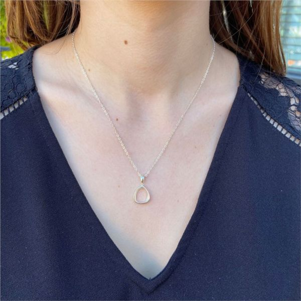 Small Silver Contoured Oval Necklace Image 2 Fox Fine Jewelry Ventura, CA