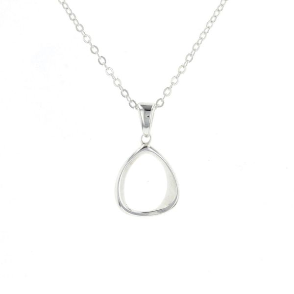 Small Silver Contoured Oval Necklace Fox Fine Jewelry Ventura, CA