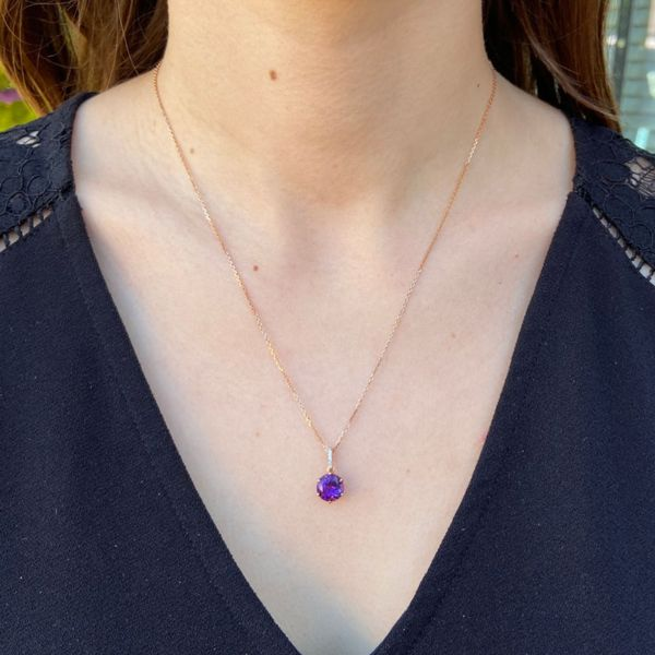 Rose Plated Amethyst & Diamond Necklace Image 2 Fox Fine Jewelry Ventura, CA