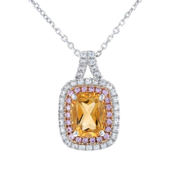 Citrine Pink Sapphire Double Halo Necklace Fox Fine Jewelry Ventura, CA