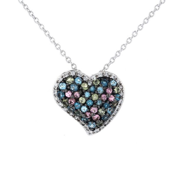 Silver Multi-Color Heart Necklace Fox Fine Jewelry Ventura, CA