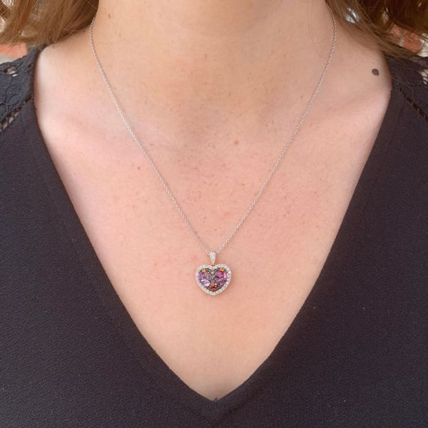 Rose Plated Multi-Color Heart Necklace Image 2 Fox Fine Jewelry Ventura, CA