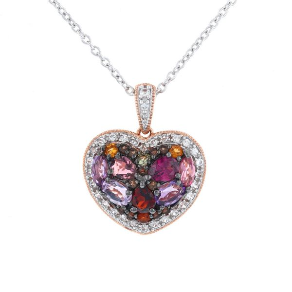 Rose Plated Multi-Color Heart Necklace Fox Fine Jewelry Ventura, CA