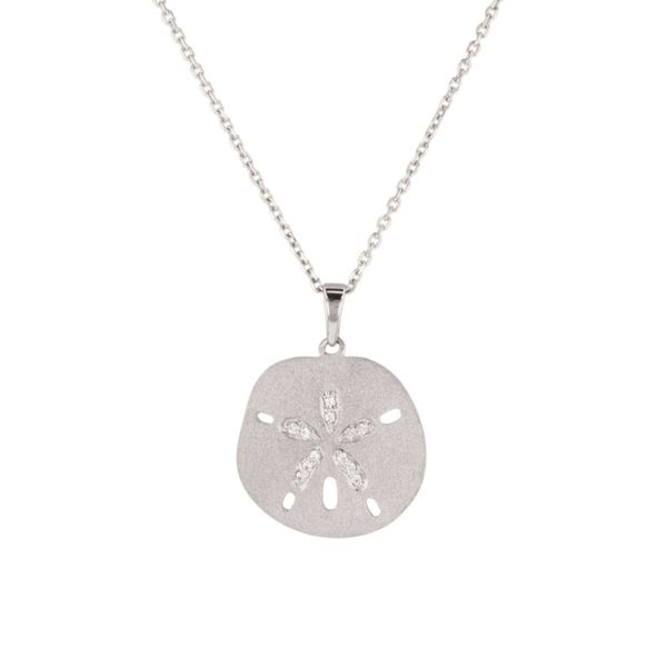 White Sapphire Sand Dollar Necklace Fox Fine Jewelry Ventura, CA