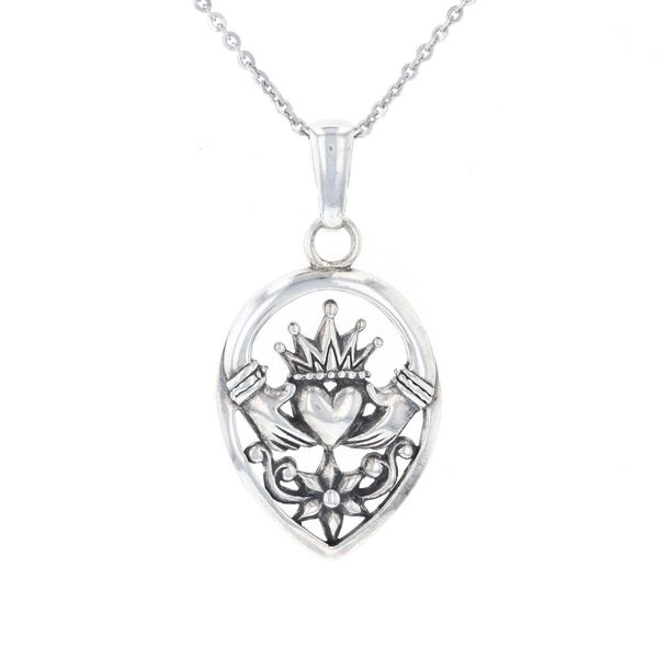 Silver Claddagh Necklace Fox Fine Jewelry Ventura, CA