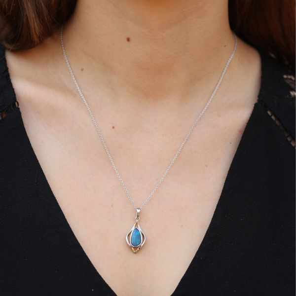 Australian Opal Curve Kite Shape Necklace Image 2 Fox Fine Jewelry Ventura, CA