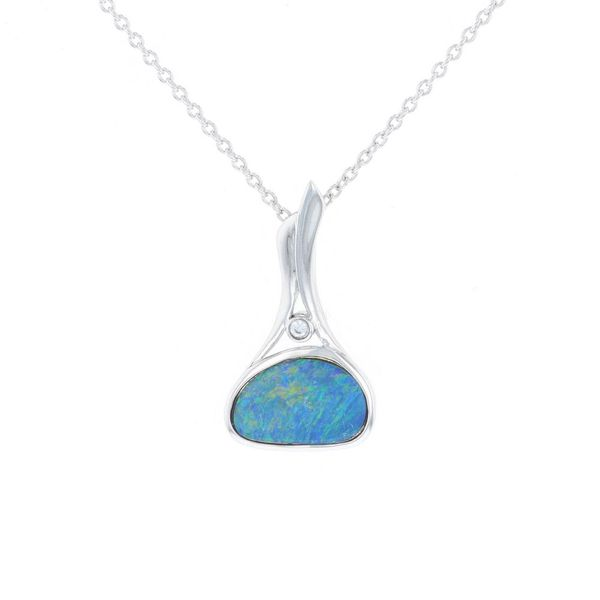 East West Australian Opal & CZ Necklace Fox Fine Jewelry Ventura, CA