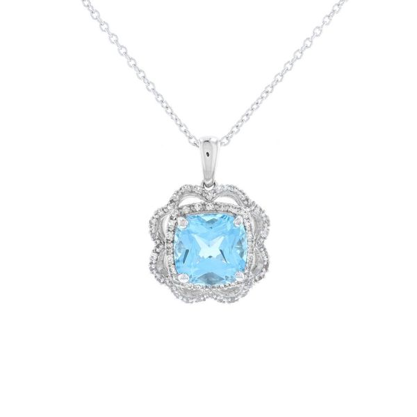 Blue Topaz Fancy Halo Necklace Fox Fine Jewelry Ventura, CA