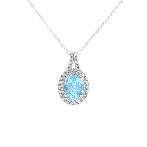 Blue Topaz & Diamond Halo Necklace Fox Fine Jewelry Ventura, CA
