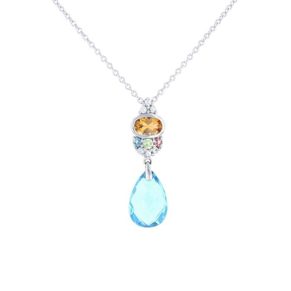 Briolette Blue Topaz & Citrine Necklace Fox Fine Jewelry Ventura, CA