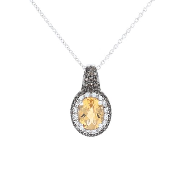 Citrine & Smoky Topaz Halo Necklace Fox Fine Jewelry Ventura, CA