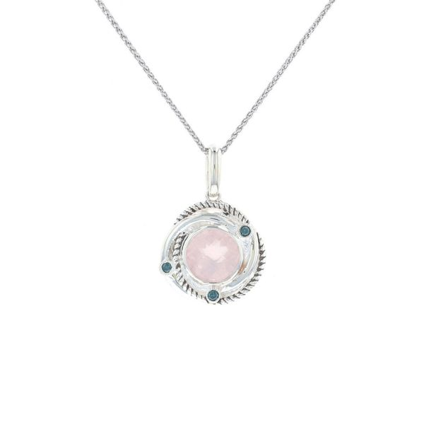 Rose Quartz & Diamond Swirl Halo Necklace Fox Fine Jewelry Ventura, CA