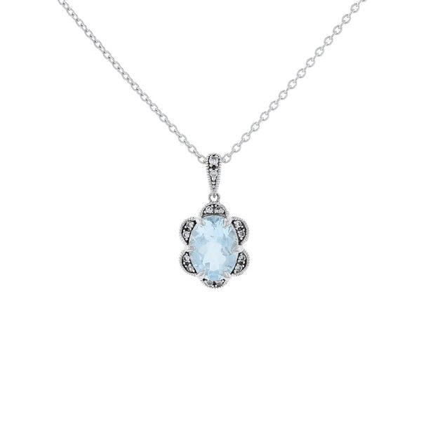 Aquamarine Scallop Halo Necklace Fox Fine Jewelry Ventura, CA