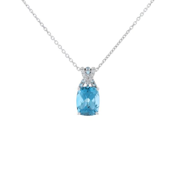Silver London Blue Topaz & Diamond Necklace Fox Fine Jewelry Ventura, CA