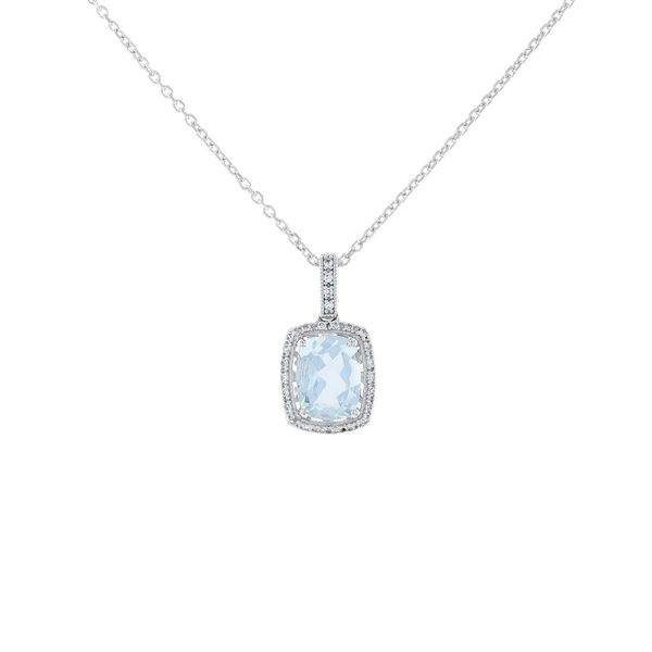 Sterling Silver Aquamarine Halo Necklace Fox Fine Jewelry Ventura, CA